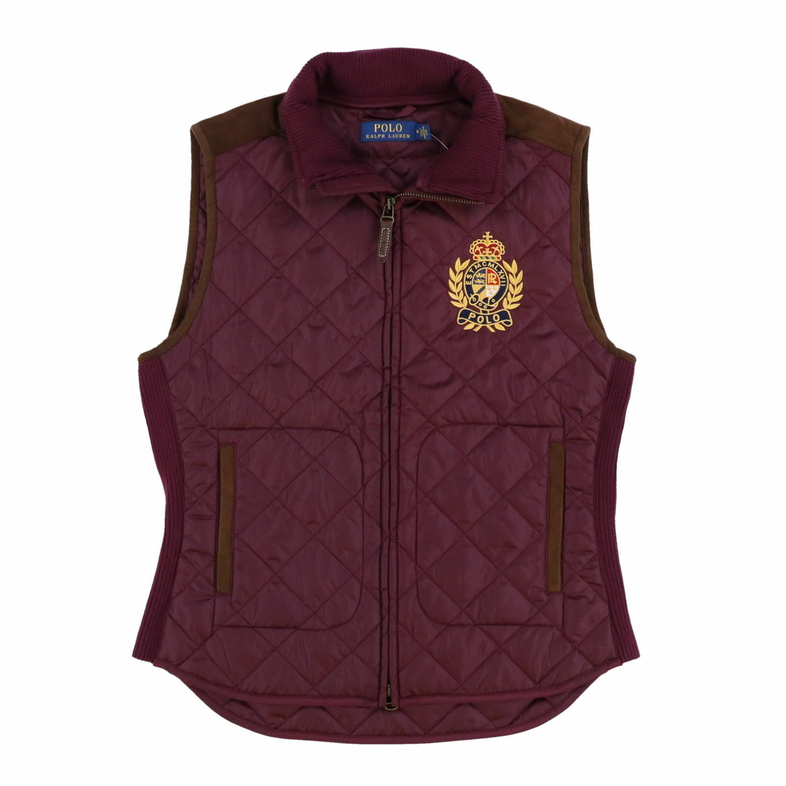 NWT  Ralph Lauren Women's Polo Crest Quilted Puffer Vest in Burgundy