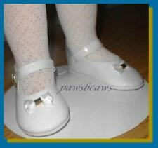 WHITE 3-1/2 x 1-1/2 inch Patent Mary Jane Doll SHOES fit CHATTY CATHY