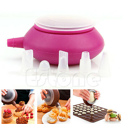Macaron Baking Pastry Cream Cake Muffin Silicone Decorating Pen 5 Nozzle Kit Set