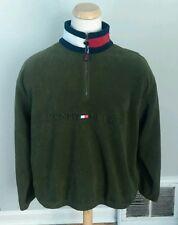 Vtg 90s Tommy Hilfiger Pullover Fleece Jacket XL Spell Out Stadium Color Block