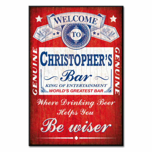 RUSTIC HOME BAR PUB PERSONALISED BEER SIGN NOVELTY GIFT BAR PLAQUE RETRO