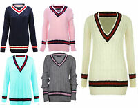 Plus Size Womens Ladies Long Sleeve V Neck Cricket Jumper Sweater Pullover Top