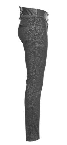 Pantalon jeans gothique dandy baroque jacquard cuir gravé laçage PunkRave Homme