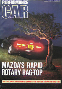 PERFORMANCE-CAR-01-1989-featuring-Mazda-RX-7-Audi-Quattro-Corvette-Porsche