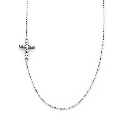 MEGA SALE MUST GO Sterling Silver & White Topaz Offset Sideways Cross  Necklace