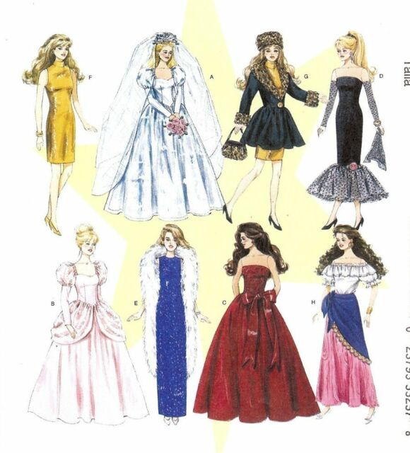 Fashion doll dress clothes PATTERN McCalls 6232 repro Vintage Wedding fit Barbie