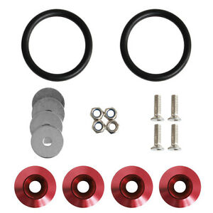 Red Car Auto Quick Release Fasteners Kit For Car Bumpers Trunk Fender Hatch Lids