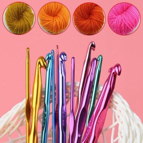 12 X Aluminium Crochet Needles Set Yarn Knitting Sewing Hooks 2-8mm