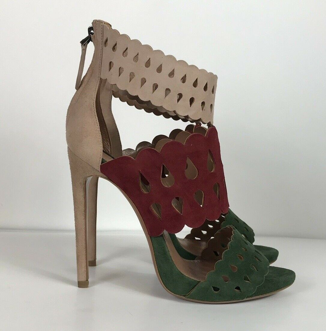 NIB Rare Alaia Multicolor Laser Cut Suede Sandals 37