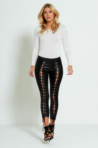 Womens Leather look Trousers Skinny Stretch Ladies Wet Look Jeans Leggings 6-14