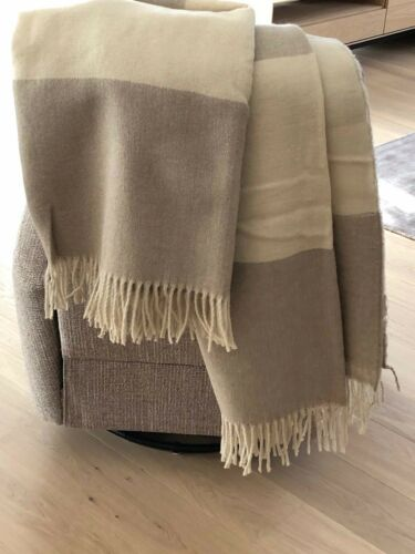 ORGANIC WOOL THROW 100/% NATURAL LAMB WOOL PLAID WOOL BLANKET 55 x 79 in GIFT