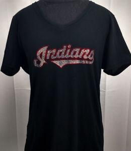 Image is loading Women-039-s-Cleveland-Indians-Rhinestone-Baseball-V- 07e645eda0