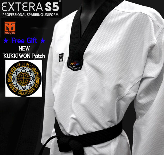 MOOTO EXTERA S5 Uniform WTF Taekwondo Dan Dobok  with Free KUKKIWON Patch TKD  latest styles
