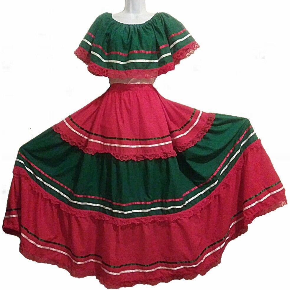 5 de Mayo Mexican Off shoulder shirt blouse Dance Ruffle skirt Ribbons Adelita L