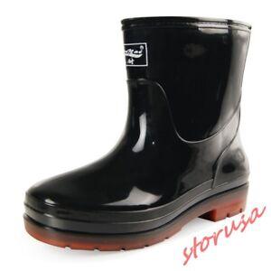 Mens Rain Boots Rubber Heel Waterproof Non Slip Water