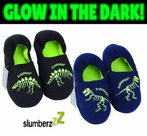 98f455c1b2b CHILD SLIPPERS DINOSAUR Glow in Dark Size 9 up to 3 Kids T-REX ...