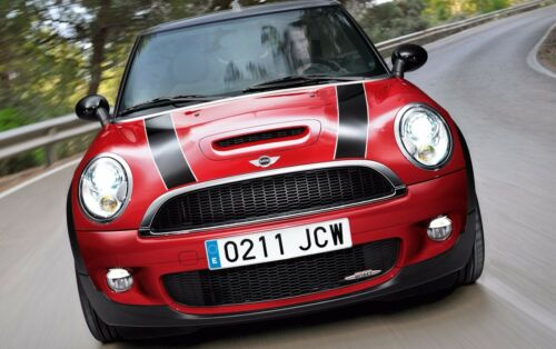 MINI CLUBMAN JOHN COOPER WORKS FRONT BONNET STRIPES BLACK WHITE DECAL STICKER
