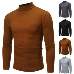 Men-039-s-Casual-Tops-Solid-Sleeve-Slim-Size-Fit-Long-Neck-Plus-Shirt-Turtle