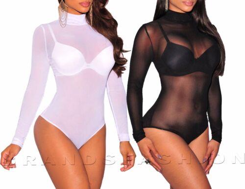 Womens Polo turtle Neck ladies Sheer Mesh Long Sleeve Leotard Bodysuit 8-26