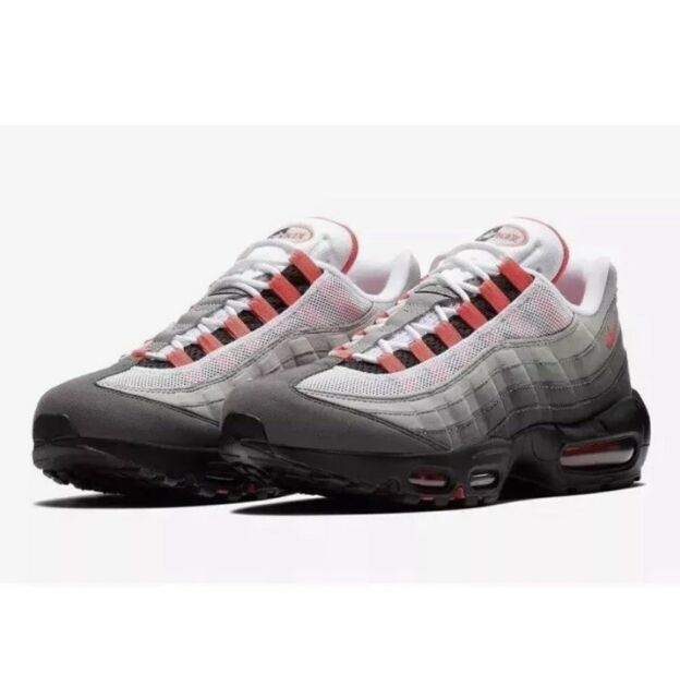 huge discount 93f9a d13c8 Nike Air Max 95 OG At2865-100 White Solar Red Granite Size 5.5