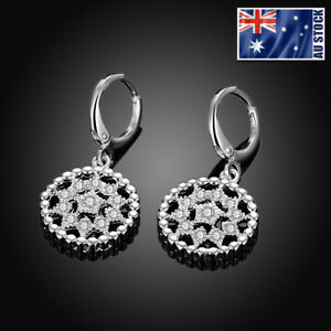 New-925-Sterling-Silver-Filled-Crystal-Filigree-Flower-Drop-Dangle-Hoop-Earrings