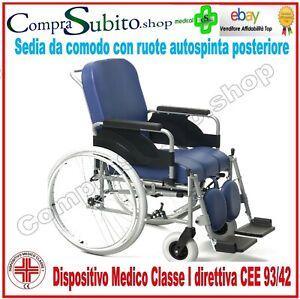 Sedia A Rotelle Carrozzina Comoda Dispositivo Wc Autospinta Mod 9300 Bagno Ebay