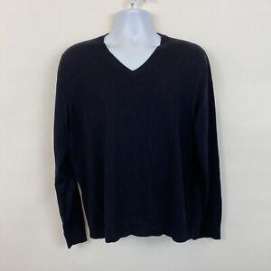 Banana Republic Extra Fine Merino Wool Sweater Mens Large navy blue v-neck