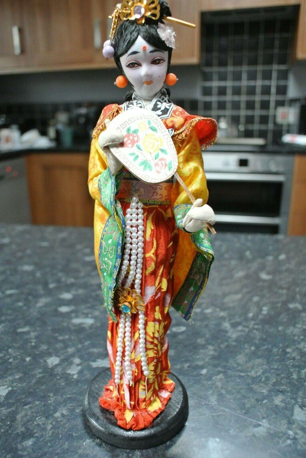 VINTAGE NINGYO 10 Bambola Giapponese di seta con Ventola