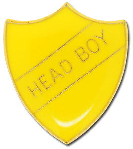 Head Boy Pin Badge in Yellow Enamel Shield