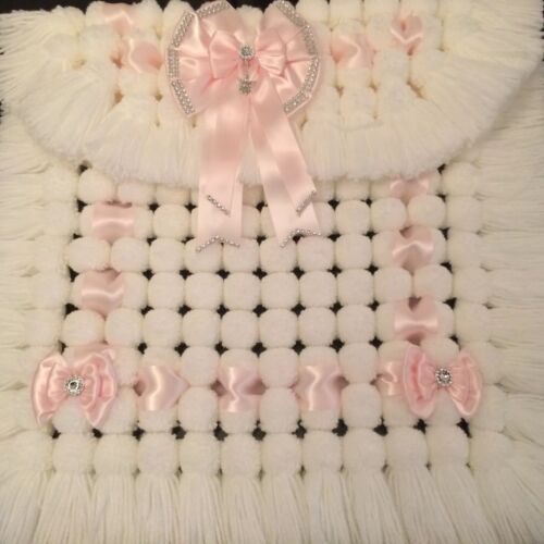 Luxurious Baby Pom Pom Blanket Pram Cover All White With Soft Pink Ribbon