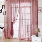 Floral Tulle Voile Door Window Curtains Drape Sheer Panel Scarf Valances Divider