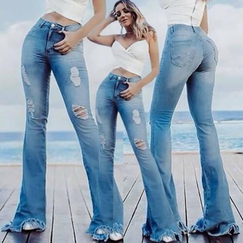 Damen Ripped Jeans High Waist Röhrenjeans Slim Denim Bootcut Schlaghose Hüftjean