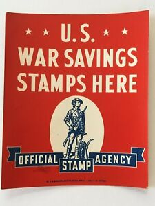 Rare-War-Sign-Sticker-The-US-WAR-SAVINGS-STAMPS-HERE-OFFICIAL-STAMP-AGENCY-42