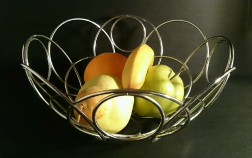 Retro METAL WIRE FRUIT BOWL Stainless Steel VGC