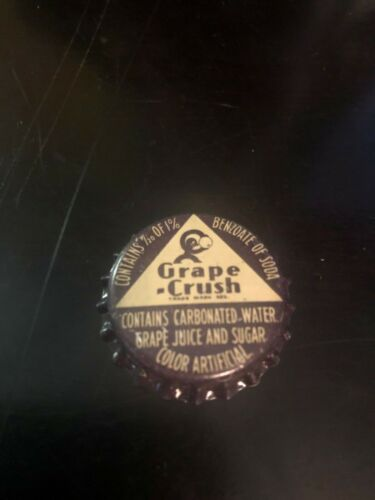 Orange Vintage soda pop bottle cap Grape CRUSH with Crushy cork new old stock