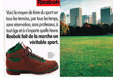 PUBLICITE ADVERTISING 064  1988  REEBOK  chaussures de marche  ( 2 pages)
