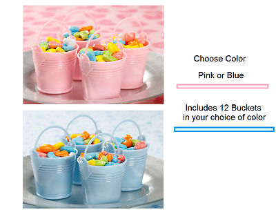 BABY SHOWER Favors BUCKETS 2 inch Candy Gifts CHOOSE Pink or Blue
