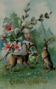 Bunny-Rabbits-with-Pussy-Willow-Flowers-Antique-Easter-Postcard-p686