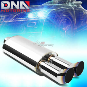 "3/""INLET DUAL BENT SQUARE BURNT TIP PERFORMANCE STAINLESS OVAL EXHAUST MUFFLER"