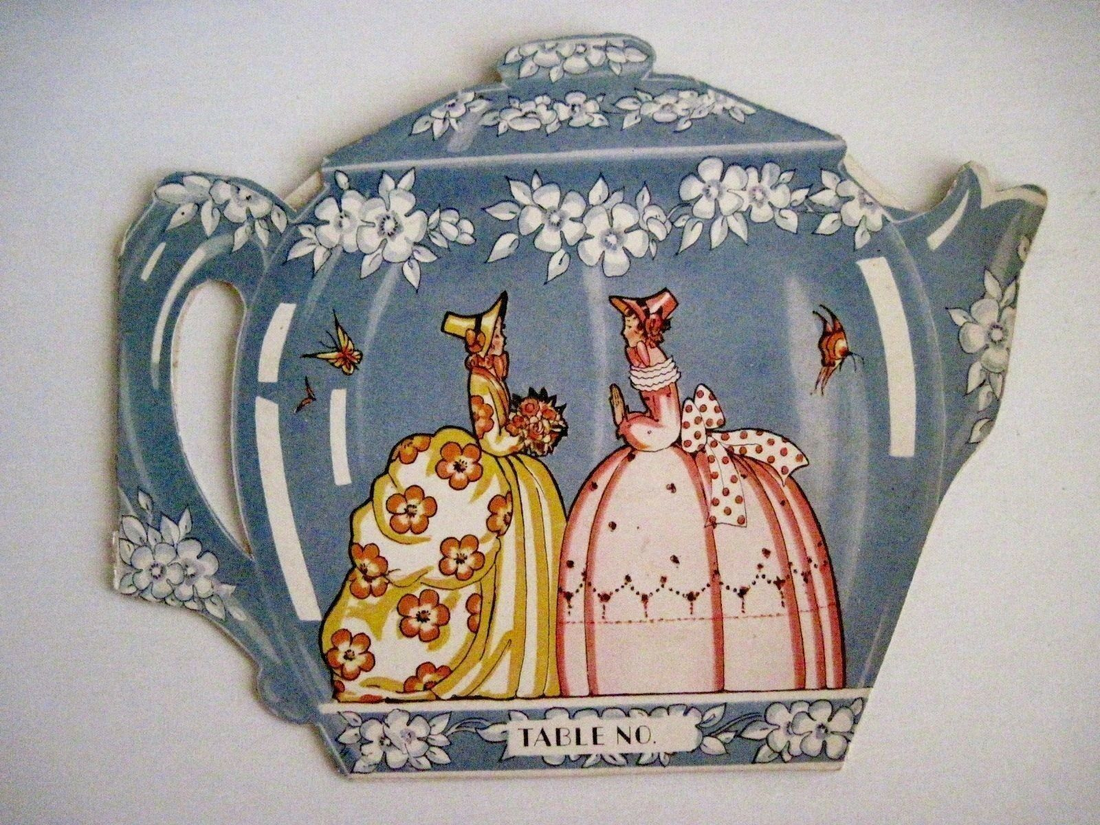 Delightful Vintage Bridge Tally Card In The Shape of A Tea Pot w Cups & Saucers