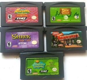5 Gameboy Advance Games Gba Sp Ds Dsl Barnyard Shrek Spongebob