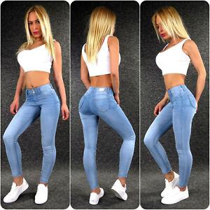 Hailys Push Up Sexy Po Summer Jeans Xs S M L XL XXL L-BLUE Ladies Stretch Jeans