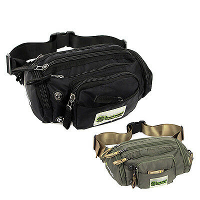 Black Green Travel sport fanny pack Waist bag Belt pouch men women black green