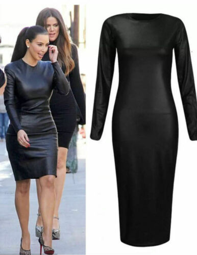 Nouveau femme aspect mouillé célébrité style cuir synthétique cap sleeve midi dress big tailles