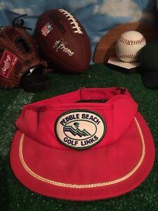 291f8e18052 Vintage Rare US OPEN PEBBLE BEACH Red Golf VISOR Hat Cap H25