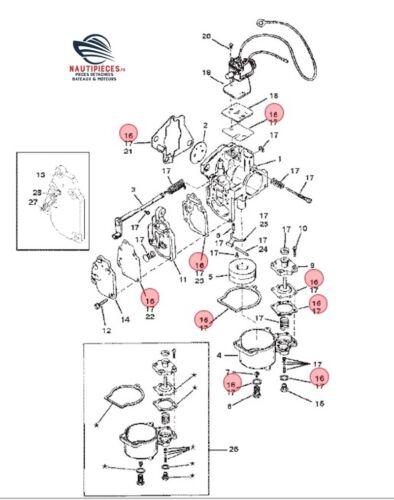 9B 97611 KIT JOINT CARBURATEUR WMC ORIGINE MERCURY MARINER 8 à 25 cv 1395-9761-1