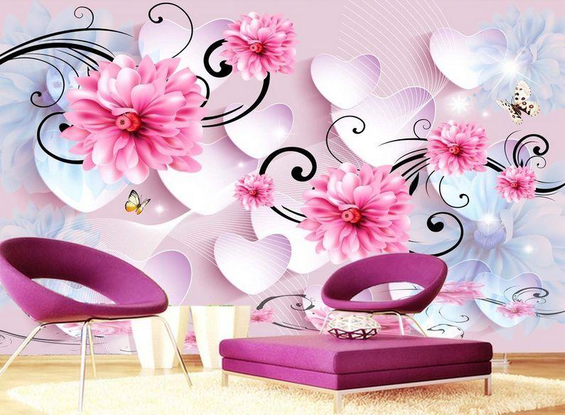 3D Romantische blütenmeer 845 Fototapeten Wandbild Fototapete BildTapete Familie