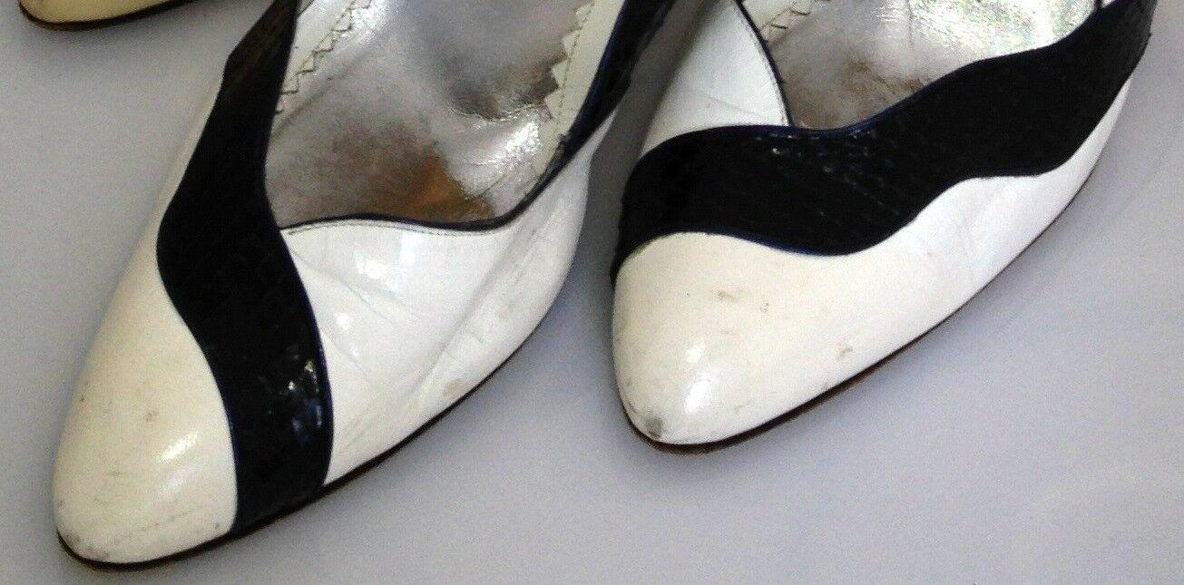 SUSAN BENNIS WARREN EDWARDS HEELS PUMPS Weiß leather w w w  Navy Snakeskin Sz.10 05e280