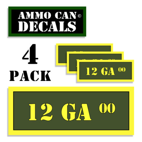 12 GA 00 Ammo Can 4x Labels  Ammunition Case 3x1.15 stickers decals 4 pack AG