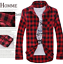 Men-039-s-Classic-Casual-Plaid-Shirt-Fashion-Long-Sleeve-Button-up-Cotton-Shirt-Top thumbnail 7